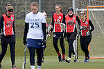 GER - Mainz, Germany, March 20: During the 1. Bundesliga Damen lacrosse match between Mainz Musketeers (white) and SC Frankfurt 1880 (red) on March 20, 2016 at Sportgelaende Dalheimer Weg in Mainz, Germany. Final score 7-12 (HT 3-5). (Photo by Dirk Markgraf / www.265-images.com) *** Local caption *** (R-L) Laura Tueroff #36 of SC Frankfurt 1880, Nele Mordhorst #25 of SC Frankfurt 1880, Lilly Haus #18 of SC Frankfurt 1880