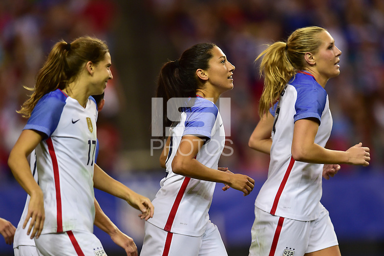 Atlanta, GA - Sunday Sept. 18, 2016: United States celebrates a goal, Tobin Heath, Christen Press, Allie Long during a international friendly match between United States (USA) and Netherlands (NED) at Georgia Dome.