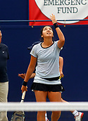 June 17th 2017, The Northern Lawn tennis Club, Manchester, England; ITF Womens tennis tournament; Zarina Dyas (KAZ) reacts to her semi final singles win against number six seed Naomi Broady (GBR); Dyas won in straight sets and meets Aleksandra Krunic (SRB) in tomorrow's final