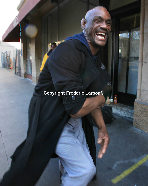 Alfred reacts to the camera in front of Glide memorial church in theSan Francisco Tenderloin district in SF, California.