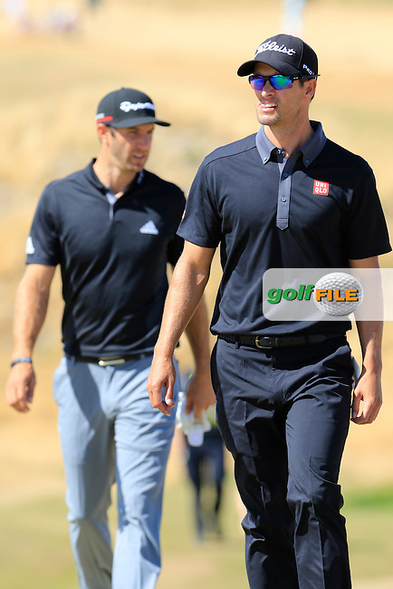 Adam Scott (AUS) and Dustin Johnson (USA) walk onto the 6th green during Friday's Round 2 of the 2015 U.S. Open 115th National Championship held at Chambers Bay, Seattle, Washington, USA. 6/20/2015.<br /> Picture: Golffile | Eoin Clarke<br /> <br /> <br /> <br /> <br /> All photo usage must carry mandatory copyright credit (&copy; Golffile | Eoin Clarke)