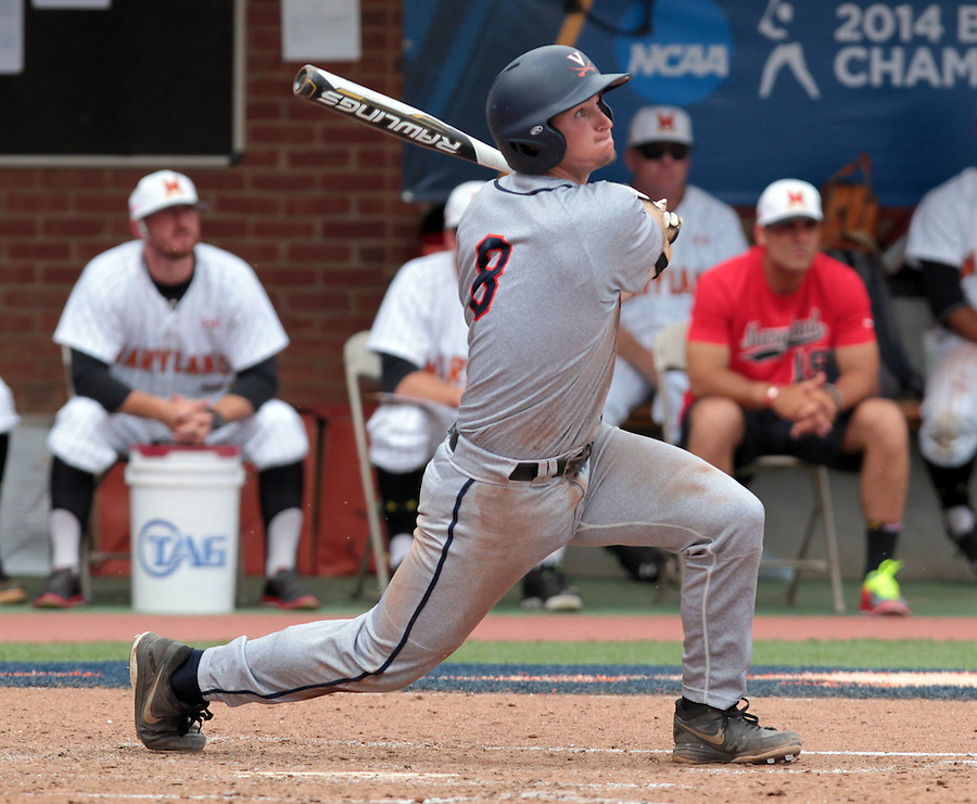 Virginia catcher Robbie Coman (8) drives in a run with a hit in the sixth inning of an NCAA college baseball tournament super regional game in Charlottesville, Va., Sunday, June 8, 2014. Virginia defeat Maryland 7-3. (AP Photo/Andrew Shurtleff)