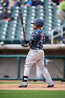 Jacksonville Jumbo Shrimp second baseman David Vidal (1) at bat during a game against the Birmingham Barons on April 24, 2017 at Regions Field in Birmingham, Alabama.  Jacksonville defeated Birmingham 4-1.  (Mike Janes/Four Seam Images)