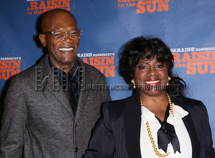 """Samuel L. Jackson and LaTanya Richardson attends the Broadway Opening Night After Party for  """"A Raisin In The Sun"""" at Tribeca Rooftop on April 3, 2014 in New York City."""