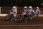 Lakeside Hammers v Swindon Robins<br /> Elite League<br /> Friday 5th April 2013<br /> Arena-Essex<br /> Heat Three<br /> Lewis Bridger (Red), Piotr Swiderski (Blue), Peter Kildemand (White), Eddie Kennett (Yellow)