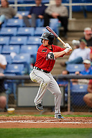 Erie SeaWolves center fielder Troy Montgomery (8) at bat during a game against the Binghamton Rumble Ponies on May 14, 2018 at NYSEG Stadium in Binghamton, New York.  Binghamton defeated Erie 6-5.  (Mike Janes/Four Seam Images)