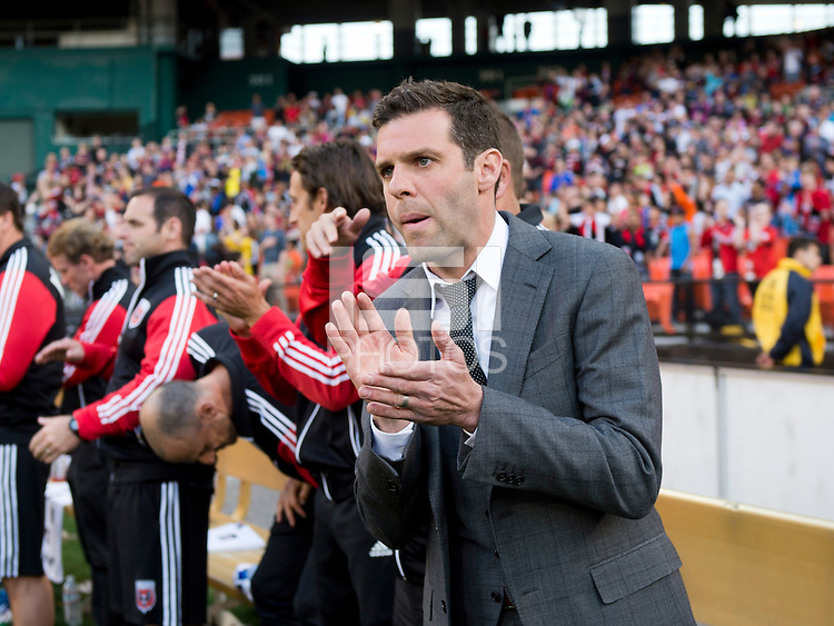 D.C. United head coach Ben Olsen gets ready for the start of the game at RFK Stadium in Washington, DC.  New York Red Bulls defeated D.C. United, 2-0.