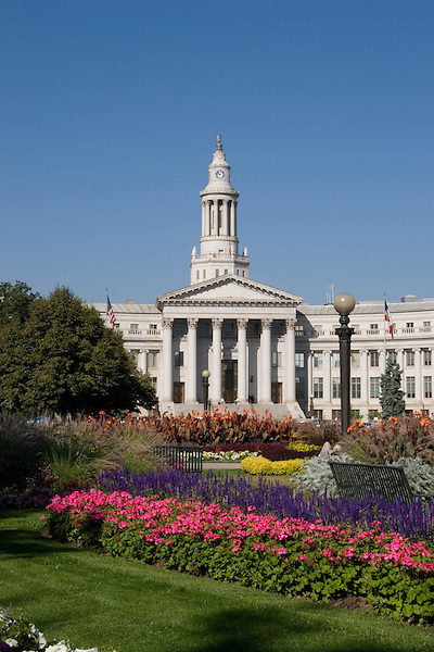 Flowers in Civic Center Park with Denver City and County Courthouse, Denver, Colorado. .  John offers private photo tours in Denver, Boulder and throughout Colorado. Year-round Colorado photo tours.