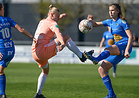20190324 - OOSTAKKER , BELGIUM : Anderlecht's Ella Van Kerkhoven pictured in a duel with Gent's Marie Minnaert (r) during the quarter final of Belgian cup 2019 , a womensoccer game between KAA Gent Ladies and RSC Anderlecht , at the PGB stadion in Oostakker , sunday 24 th March 2019 . PHOTO SPORTPIX.BE | DAVID CATRY