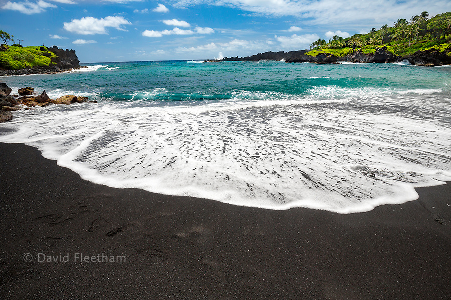 The black sand beach at Waianapanapa State Park, Hana, Maui, Hawaii.