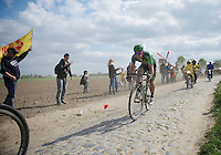 Yannick Martinez (FRA/Europcar) fighting hard to stay with the breakaway<br /> <br /> Paris-Roubaix 2014