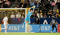 CARSON, CA - SEPTEMBER 21: David Bingham #1 of the Los Angeles Galaxy leaps high for a ball during a game between Montreal Impact and Los Angeles Galaxy at Dignity Health Sports Park on September 21, 2019 in Carson, California.