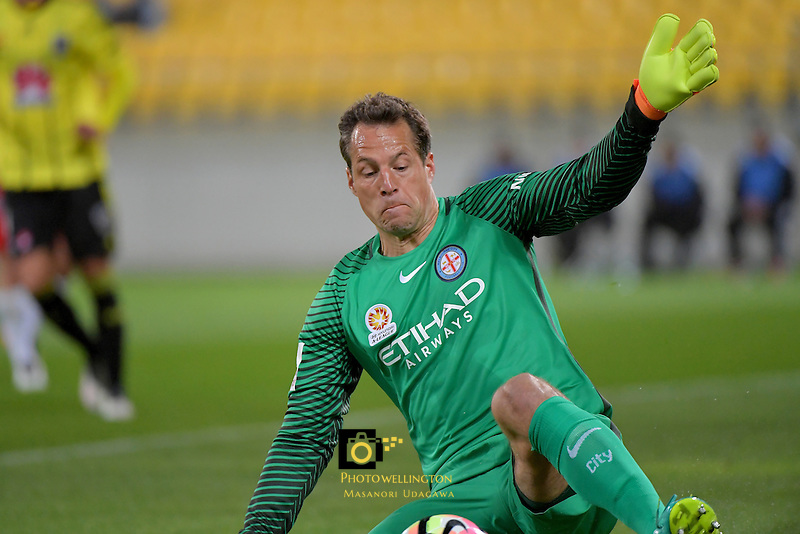 Melbourne City FC's Thomas Sorensen in action during the A League - Wellington Phoenix v Melbourne City FC at Westpac Stadium, Wellington, New Zealand on Saturday 8 October 2016.<br /> Photo by Masanori Udagawa. <br /> www.photowellington.photoshelter.com.