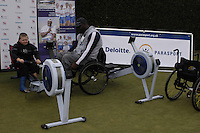Queens Club, GREAT BRITAIN,  Ben , get's a few pointers on the Ergo from 2006 World Gold medallist Shaun SEWELL, before the  press Conference to announce the joint initiative between British Paralympic Association and Deloitte  of 'Parasport' online information service, on Thur's.  03.05.2007. London. [Credit: Peter Spurrier/Intersport Images]