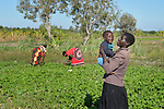 Rhoda Nyoni plays with her son Moses as she and other women work in a community vegetable garden in Kayeleka Banda, Malawi. Nyoni is pregnant, and the Maternal, Newborn and Child Health program of the Livingstonia Synod of the Church of Central Africa Presbyterian works with her and other women in the village to insure that they and their children receive proper nutrition and health care.