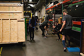 Harvard did their stretching in a crowded storage area. - The Boston College Eagles defeated the Harvard University Crimson 3-2 in the opening round of the Beanpot on Monday, February 1, 2016, at TD Garden in Boston, Massachusetts.