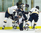 Mike Switzer (Bentley - 4), Trevor Lewis (RMU - 10), Brett Switzer (Bentley - 25), Dan Koudys (Bentley - 13) - The Bentley University Falcons defeated the visiting Robert Morris University Colonials 2-1 on Friday, January 6, 2012, at the John A. Ryan Skating Arena in Watertown, Massachusetts.