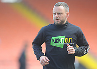 Blackpool's Jay Spearing during the pre-match warm-up <br /> <br /> Photographer Kevin Barnes/CameraSport<br /> <br /> The EFL Sky Bet League One - Blackpool v Peterborough United - Saturday 13th April 2019 - Bloomfield Road - Blackpool<br /> <br /> World Copyright &copy; 2019 CameraSport. All rights reserved. 43 Linden Ave. Countesthorpe. Leicester. England. LE8 5PG - Tel: +44 (0) 116 277 4147 - admin@camerasport.com - www.camerasport.com
