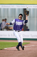 Binghamton Rumble Ponies right fielder Kevin Kaczmarski (14) makes a play on a fly ball during a game against the Akron RubberDucks on May 12, 2017 at NYSEG Stadium in Binghamton, New York.  Akron defeated Binghamton 5-1.  (Mike Janes/Four Seam Images)