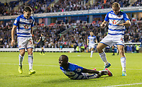 Modou Barrow of Reading celebrates scoring a goal to make it 2 0 during the Sky Bet Championship match between Reading and Aston Villa at the Madejski Stadium, Reading, England on 15 August 2017. Photo by Andy Rowland / PRiME Media Images.