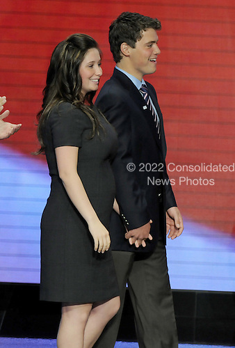 St. Paul, MN - September 3, 2008 -- Bristol Palin, 17, and her boyfriend Levi Johnston arrive on the podium after Governor Sarah Palin's acceptance speech on day 3 of the 2008 Republican National Convention at the Xcel Energy Center in Saint Paul, Minnesota on Wednesday, September 3, 2008.Credit: Ron Sachs / CNP.(RESTRICTION: NO New York or New Jersey Newspapers or newspapers within a 75 mile radius of New York City)