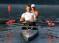 Former Marine sergeant Rob Jones trains in a double scull boat with partner Oksana Masters on the Rivanna River Wednesday July, 25, 2012 in Charlottesville, VA. Former Marine sergeant Jones, who lost both legs during an IED explosion in Afghanistan, will compete with Masters as rowers at the 2012 Paralympics in London, England. Rowing will make its appearance at the London Paralympic Games for only the second time, after its introduction at the Beijing 2008 Games. Photo/Andrew Shurtleff