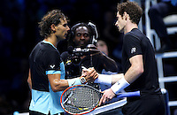 Rafael Nadal of Spain shakes hands with Andy Murray of Great Britain at the ATP World Tour Finals, The O2, London, 2015