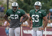 New York Jets linebacker Anthony Wint (52) and linebacker Kevin Minter (53) look on as their team participates in a joint training camp practice with the Washington Redskins at the Washington Redskins Bon Secours Training Facility in Richmond, Virginia on Monday, August 13, 2018.<br /> Credit: Ron Sachs / CNP<br /> (RESTRICTION: NO New York or New Jersey Newspapers or newspapers within a 75 mile radius of New York City)
