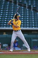 AZL Athletics Gold Michael Woodworth (1) at bat during an Arizona League game against the AZL Cubs 1 at Sloan Park on June 20, 2019 in Mesa, Arizona. AZL Athletics Gold defeated AZL Cubs 1 21-3. (Zachary Lucy/Four Seam Images)