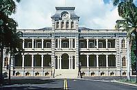 Honolulu: Iolani Palace, 1882--elevation. South King St. & Richards. Thos. J. Baker and C.S. Wall, architects. Photo '82.