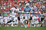 30 MAY 2016: Pat Young (44) of the University of Maryland against Jake Matthai (6) of the University of North Carolina during the Division I Men's Lacrosse Championship held at Lincoln Financial Field in Philadelphia, PA. Larry French/NCAA Photos