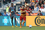 07 May 2016: Fort Lauderdale's PC (BRA) (right) and Carolina's Tiyi Shipalane (RSA) (left). The Carolina RailHawks hosted the Fort Lauderdale Strikers at WakeMed Stadium in Cary, North Carolina in a 2016 North American Soccer League Spring Season game. The Strikers won the game 3-1.