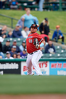 Rochester Red Wings Willians Astudillo (48) throws to first base during an International League game against the Charlotte Knights on June 16, 2019 at Frontier Field in Rochester, New York.  Rochester defeated Charlotte 11-5 in the first game of a doubleheader that was a continuation of a game postponed the day prior due to inclement weather.  (Mike Janes/Four Seam Images)