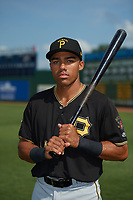 Bristol Pirates Jonah Davis (14) poses for a photo before a game against the Elizabethton Twins on July 29, 2018 at Joe O'Brien Field in Elizabethton, Tennessee.  Bristol defeated Elizabethton 7-4.  (Mike Janes/Four Seam Images)