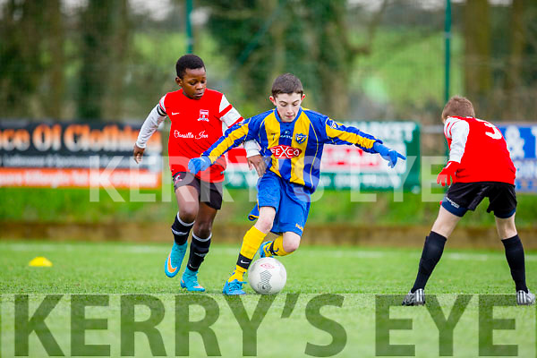 Eoin Hassett jinks through the Corduff defence during their FAI cup clash in Killorglin on Saturday
