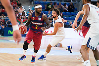 Real Madrid's player Sergio Llull and FC Barcelona Lassa's player Tyrese Rice during the match of the semifinals of Supercopa of La Liga Endesa Madrid. September 23, Spain. 2016. (ALTERPHOTOS/BorjaB.Hojas)