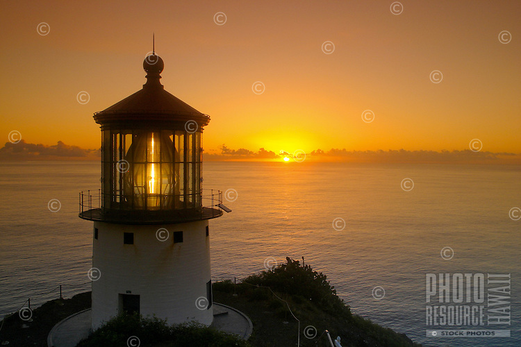 Makapuu pt. lighthouse at sunrise. Located along the southeast coast of oahu.
