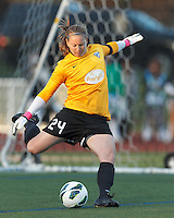 Boston Breakers goalkeeper Ashley Phillips (24). In a National Women's Soccer League Elite (NWSL) match, the Boston Breakers (blue) defeated Chicago Red Stars (white), 4-1, at Dilboy Stadium on May 4, 2013.