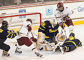 Chris Calnan (BC - 11) scored. - The Boston College Eagles defeated the visiting Merrimack College Warriors 2-1 on Wednesday, January 21, 2015, at Kelley Rink in Conte Forum in Chestnut Hill, Massachusetts.