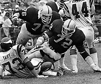 Raiders Mike McCoy and John Matuszak dive on fumble Minnesota Vikings..Ro n Yary..(1972 photo/Ron Riesterer)
