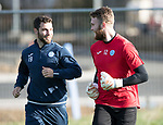 St Johnstone Training…27.10.17<br />Zander Clark pictured talking with Richie Foster during training this morning at McDiarmid Park ahead of tomorrows trip to Partick Thistle<br />Picture by Graeme Hart.<br />Copyright Perthshire Picture Agency<br />Tel: 01738 623350  Mobile: 07990 594431