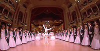 0802020365c Dress rehearsal of the 13th Budapest Opera Ball held at Opera House involving 50 couples of debutantes performing the opening waltz. Budapest, Hungary. Saturday, 02. February 2008. ATTILA VOLGYI