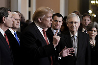United States President Donald J. Trump talks to the press after the Republican Policy luncheon at the U.S. Capitol Building on January 9, 2019 in Washington, DC. Pictured from left to right: US Senator John Barrasso (Republican of Wyoming), US Vice President Mike Pence, the President, US Senator Todd Young (Republican of Indiana), US Senate Majority Leader Mitch McConnell (Republican of Kentucky), and US Senator Joni Ernst (Republican of Iowa).<br /> Credit: Olivier Douliery / Pool via CNP /MediaPunch