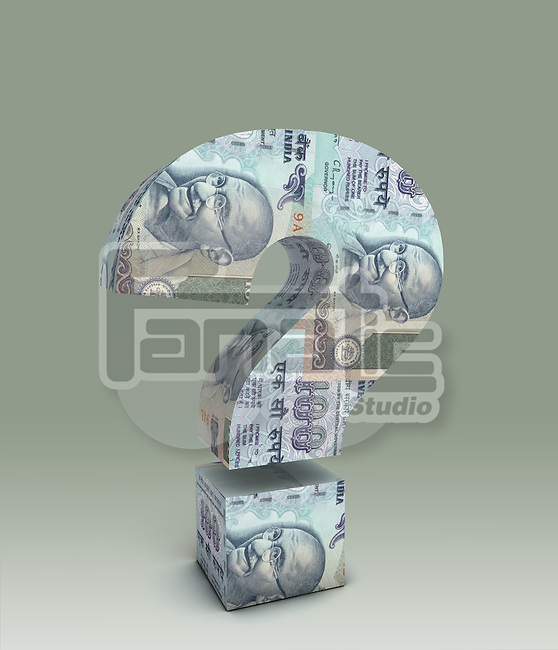 Illustrative image of question mark made of Indian currency representing confusion