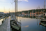 View of the harbor at dawn, Camden, Maine, USA