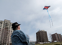 "Don Mathews, of Sarnia has a knack for flying kites at Centennial Park. The retiree says he also flies at night and experiments using coloured miniature lights to guide the way. ""I'm down here quite a bit,"" he said while reeling 45 meters of line in."