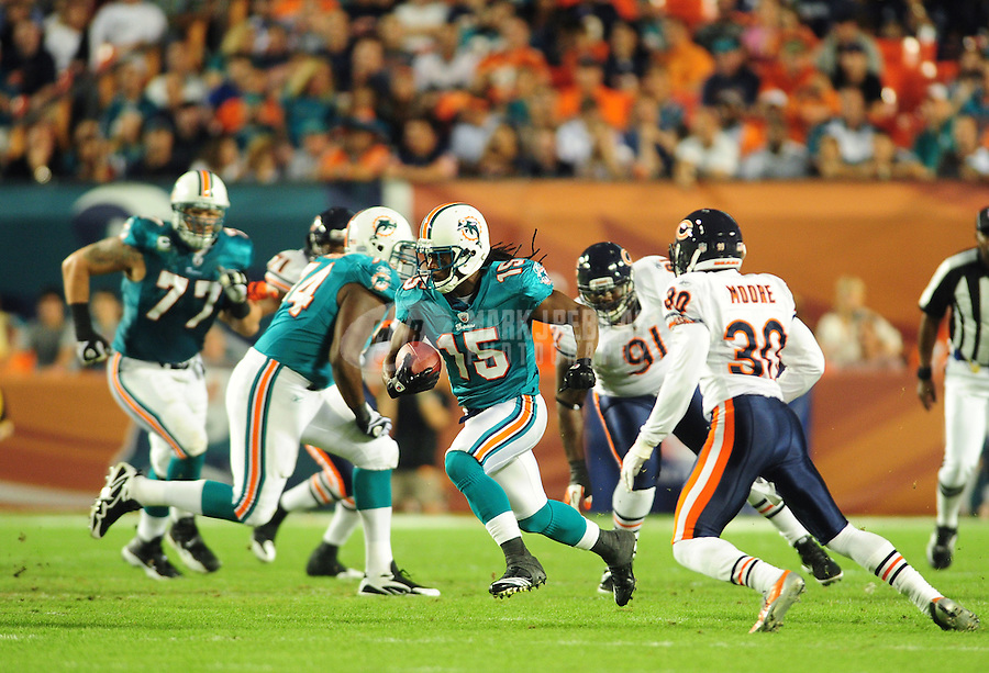 Nov. 18, 2010;  Miami, FL, USA; Miami Dolphins wide receiver (15) Davone Bess against the Chicago Bears at Sun Life Stadium. Mandatory Credit: Mark J. Rebilas-