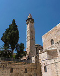 The minaret of the Mosque of Omar, located next to the courtyard of the Church of the Holy Sepulchre in the Christian Quarter of the Old City of Jerusalem.  The Old City of Jerusalem and its Walls is a UNESCO World Heritage Site