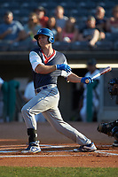 Brewer Hicklen (28) of the Lexington Legends follows through on his swing against the West Virginia Power at Appalachian Power Park on June 7, 2018 in Charleston, West Virginia. The Power defeated the Legends 5-1. (Brian Westerholt/Four Seam Images)