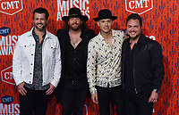 NASHVILLE, TENNESSEE - JUNE 05: James Young, Mike Eli, Chris Thompson, Jon Jones of Eli Young Band attend the 2019 CMT Music Awards at Bridgestone Arena on June 05, 2019 in Nashville, Tennessee. <br /> CAP/MPI/IS/NC<br /> ©NC/IS/MPI/Capital Pictures
